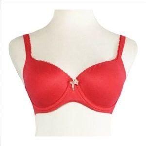 Victorias Secret Lined Demi Underwire Bra 32DD Red